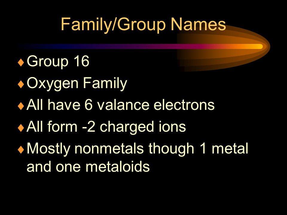 Family/Group Names Group 16 Oxygen Family All have 6 valance electrons
