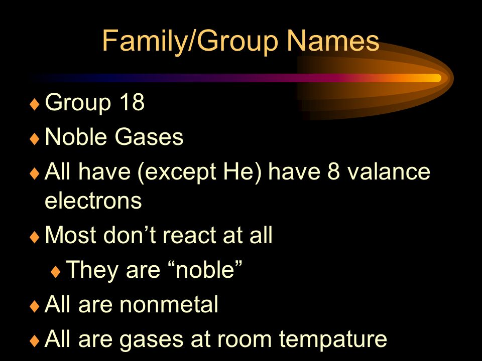 Family/Group Names Group 18 Noble Gases