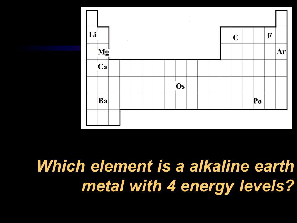 Which element is a alkaline earth metal with 4 energy levels
