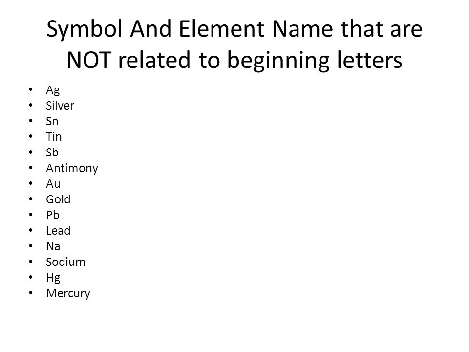 Fundamentals of periodic table ppt download symbol and element name that are not related to beginning letters urtaz Gallery