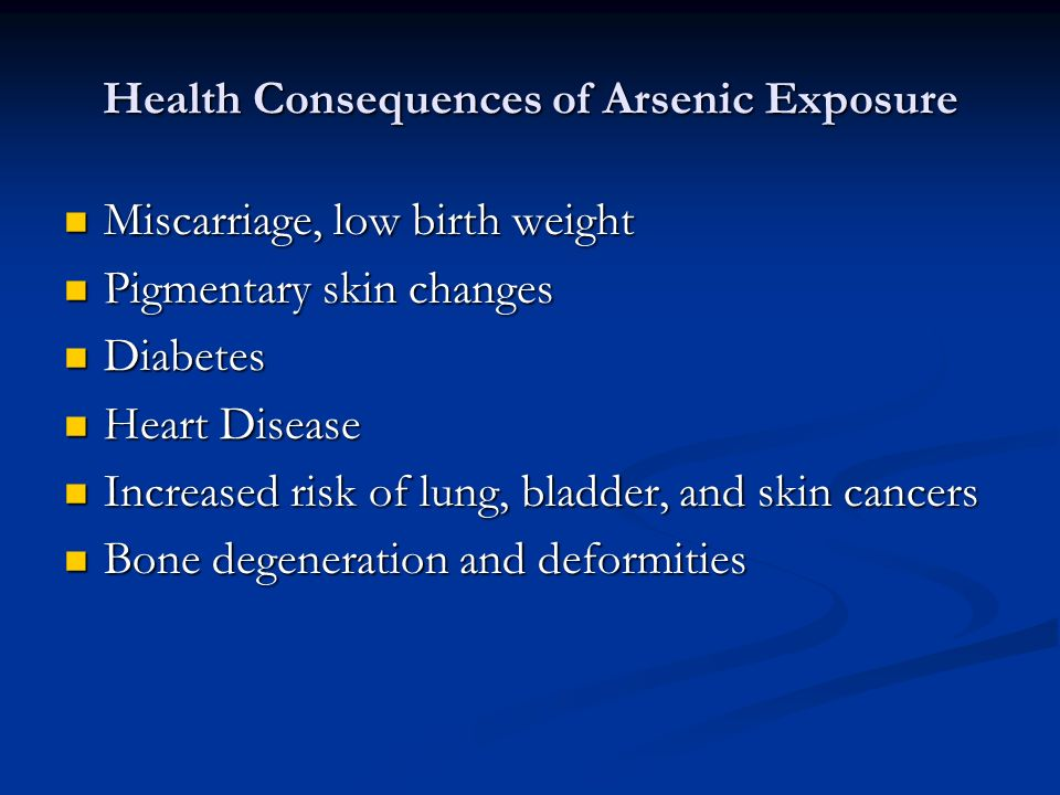 Health Consequences of Arsenic Exposure