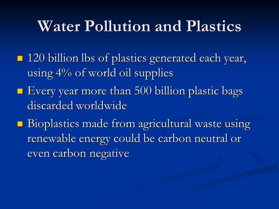 Water Pollution and Plastics