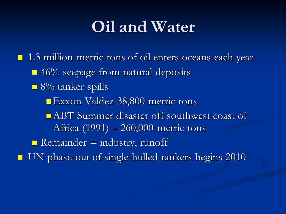 Oil and Water 1.3 million metric tons of oil enters oceans each year