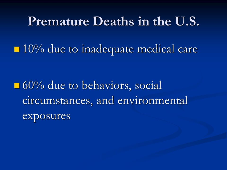 Premature Deaths in the U.S.