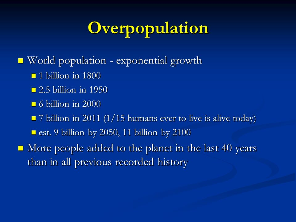 Overpopulation World population - exponential growth