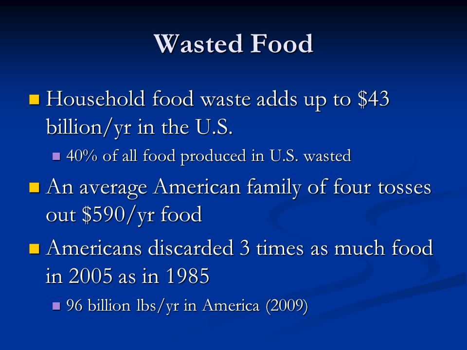 Wasted Food Household food waste adds up to $43 billion/yr in the U.S.
