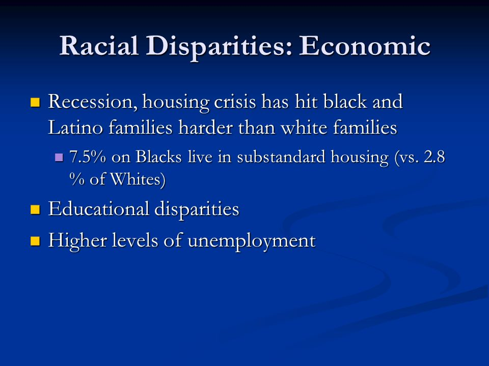 Racial Disparities: Economic