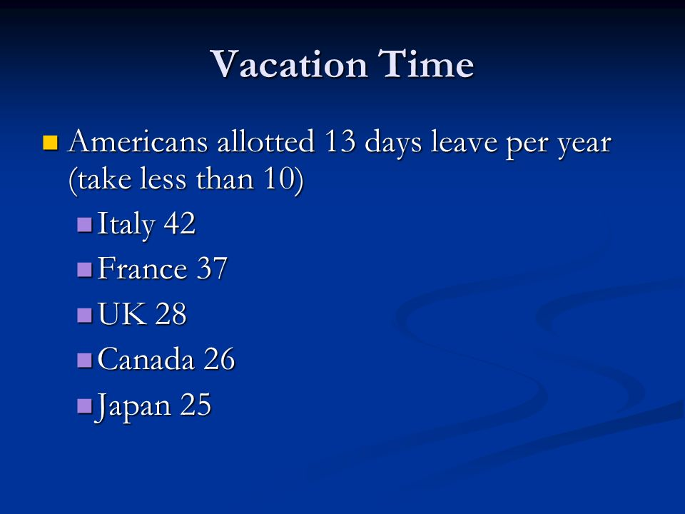 Vacation Time Americans allotted 13 days leave per year (take less than 10) Italy 42. France 37. UK 28.