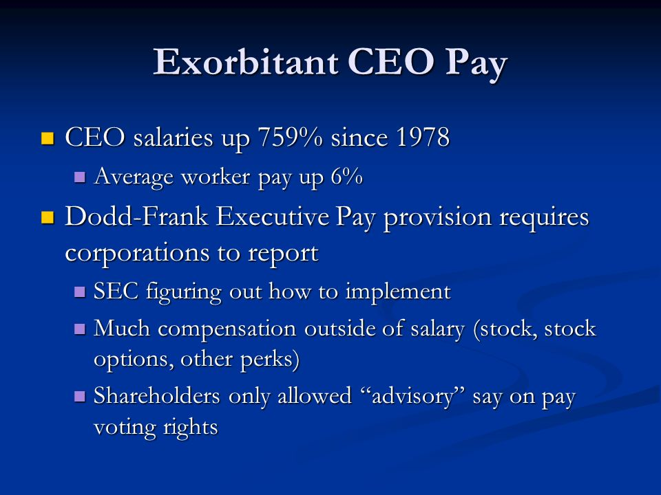Exorbitant CEO Pay CEO salaries up 759% since 1978