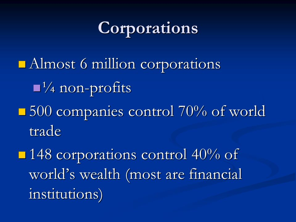 Corporations Almost 6 million corporations ¼ non-profits