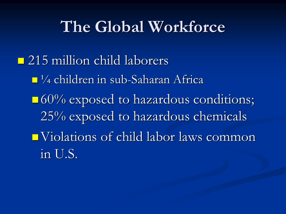 The Global Workforce 215 million child laborers