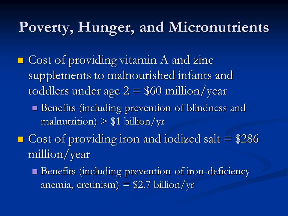 Poverty, Hunger, and Micronutrients