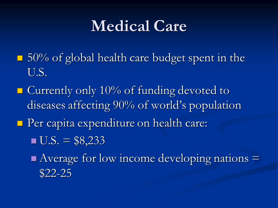 Medical Care 50% of global health care budget spent in the U.S.