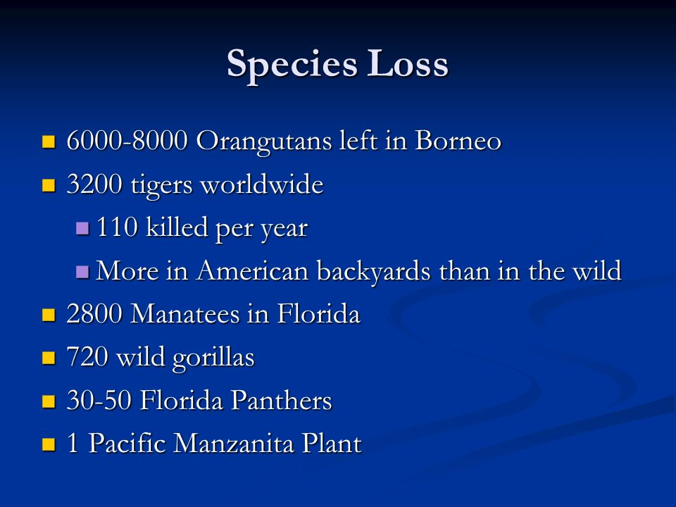 Species Loss 6000-8000 Orangutans left in Borneo 3200 tigers worldwide