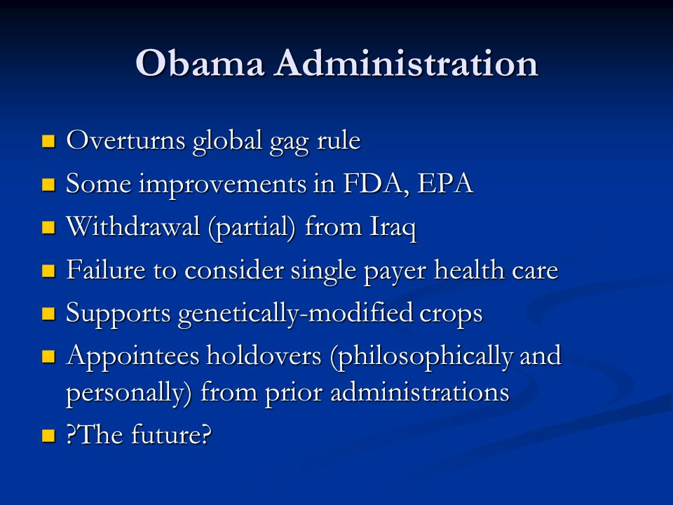 Obama Administration Overturns global gag rule