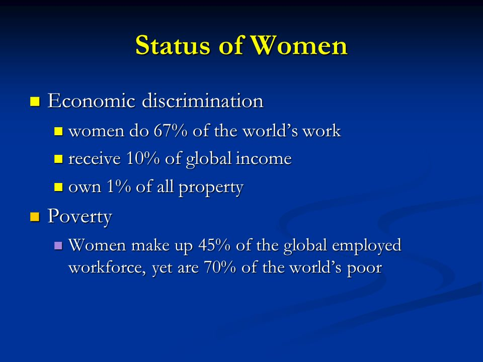 Status of Women Economic discrimination Poverty