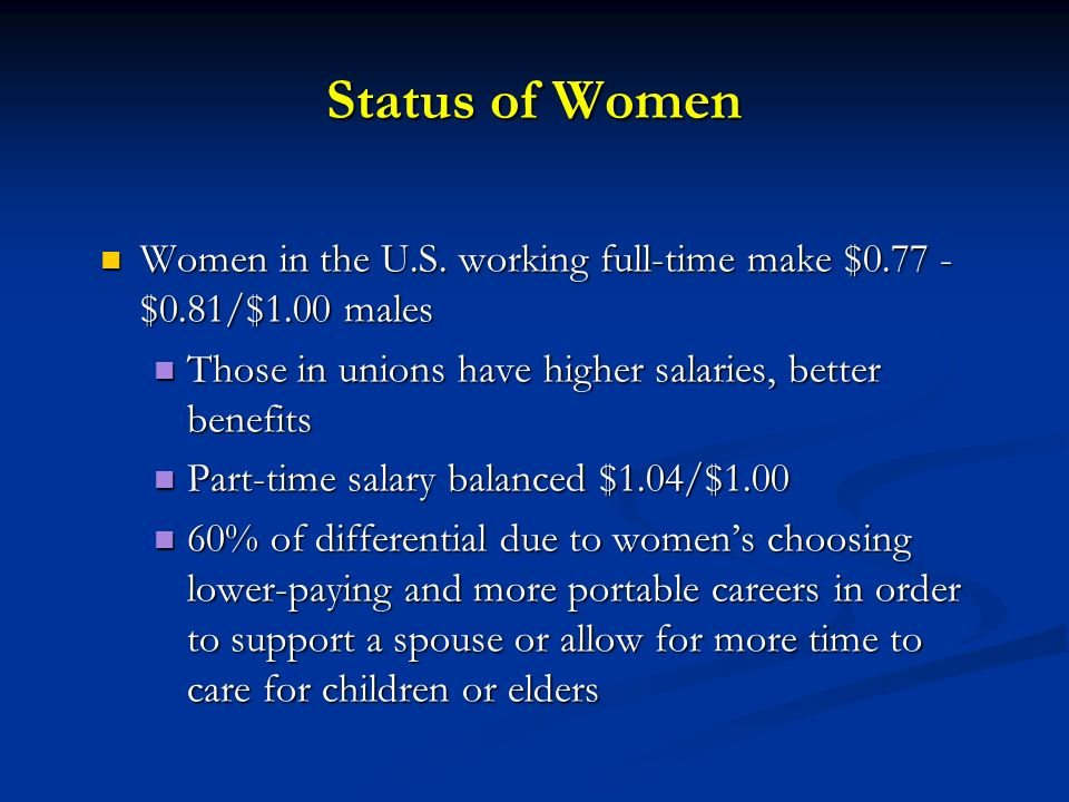 Status of Women Women in the U.S. working full-time make $0.77 - $0.81/$1.00 males. Those in unions have higher salaries, better benefits.