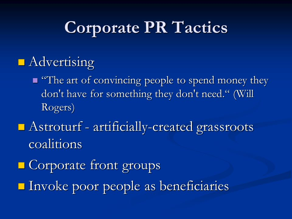 Corporate PR Tactics Advertising