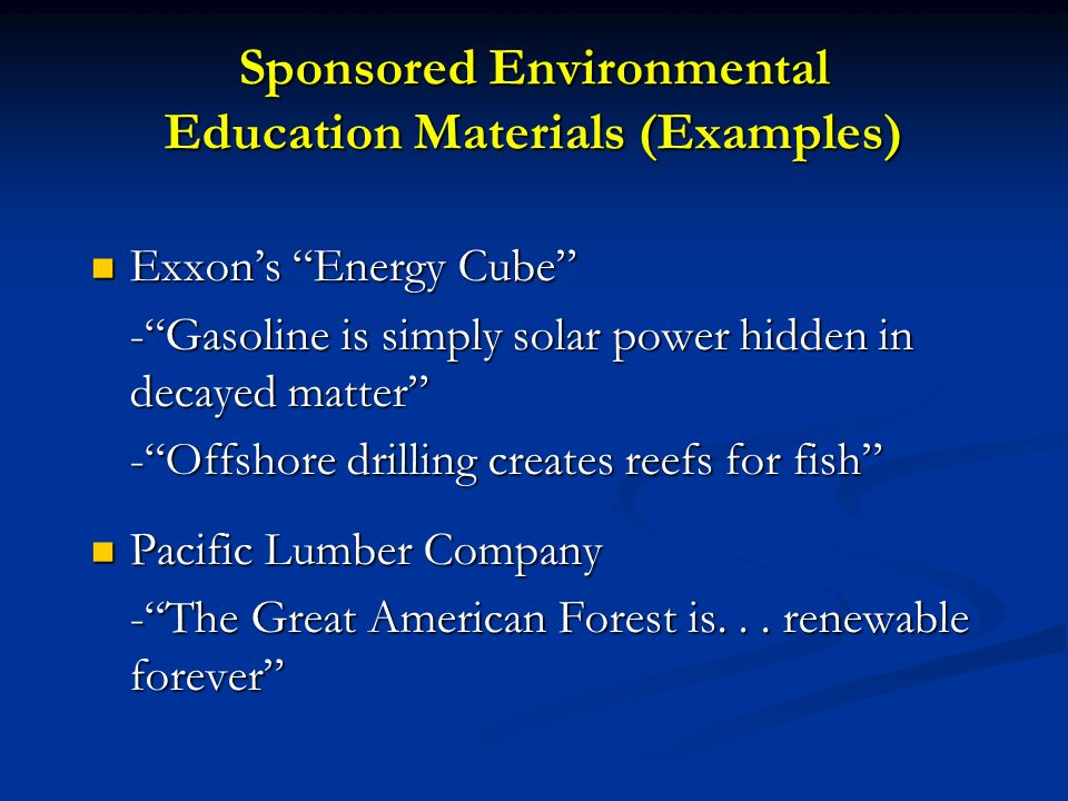 Sponsored Environmental Education Materials (Examples)