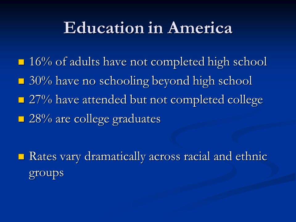 Education in America 16% of adults have not completed high school