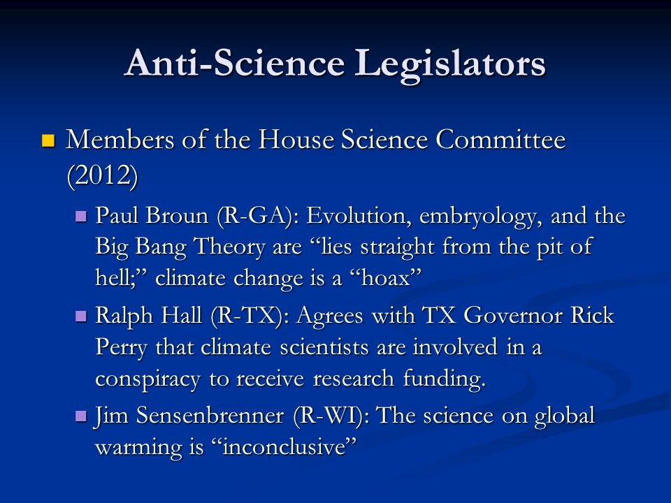 Anti-Science Legislators
