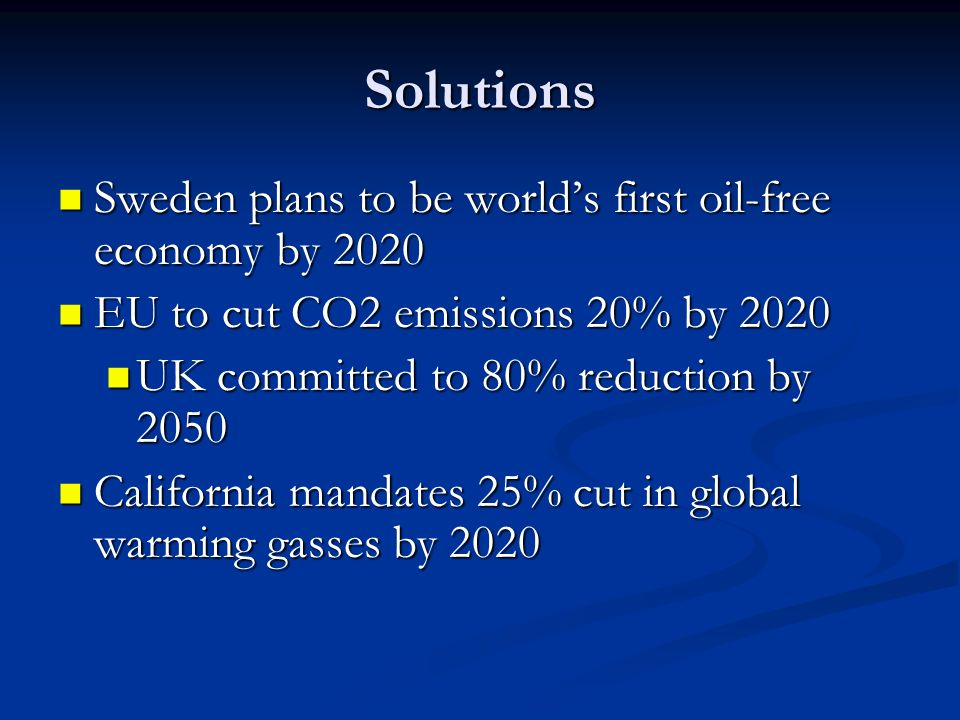 Solutions Sweden plans to be world's first oil-free economy by 2020