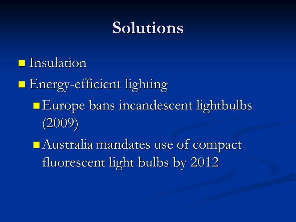 Solutions Insulation Energy-efficient lighting