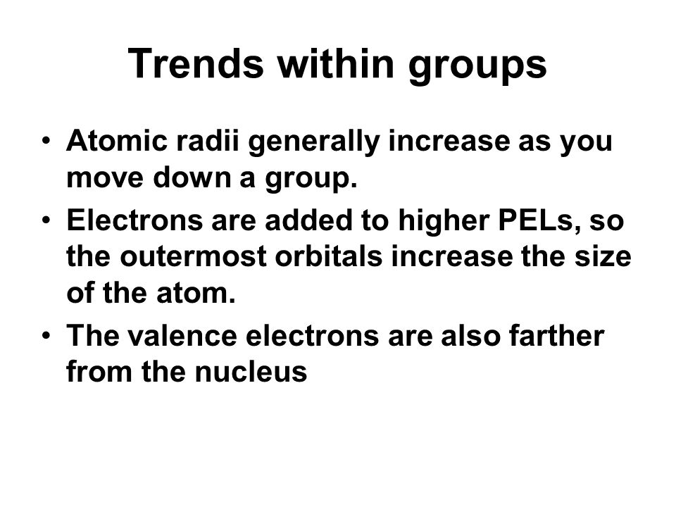 The periodic table and the periodic law ppt video online download 78 trends within groups atomic radii generally increase as you move urtaz Image collections