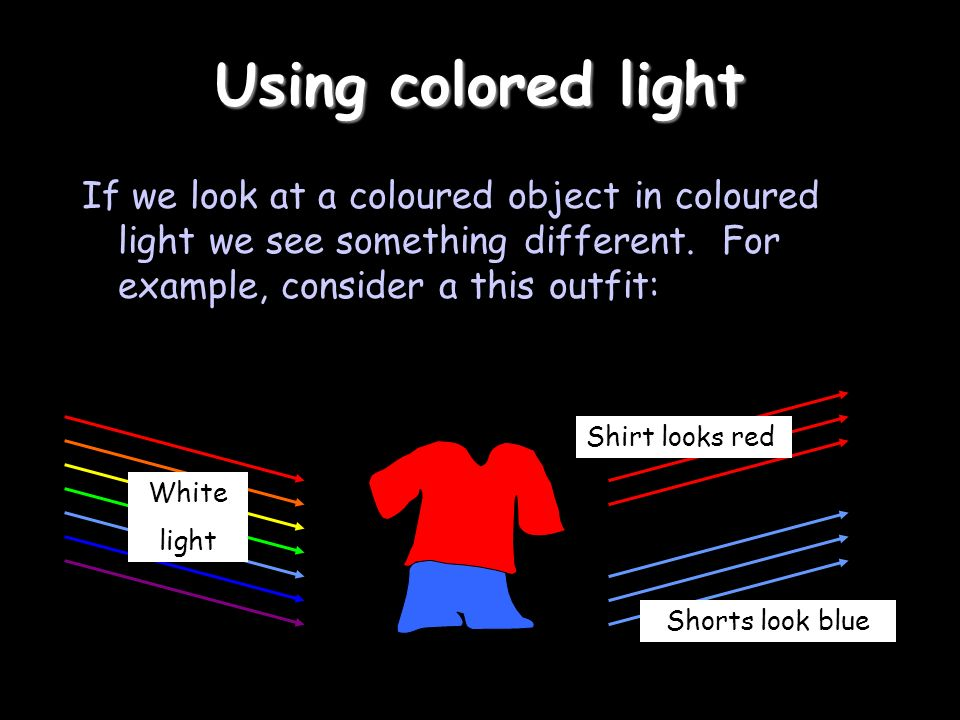 Using colored light If we look at a coloured object in coloured light we see something different. For example, consider a this outfit: