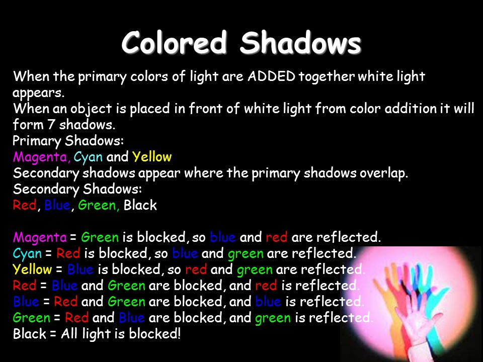 Colored Shadows When the primary colors of light are ADDED together white light appears.