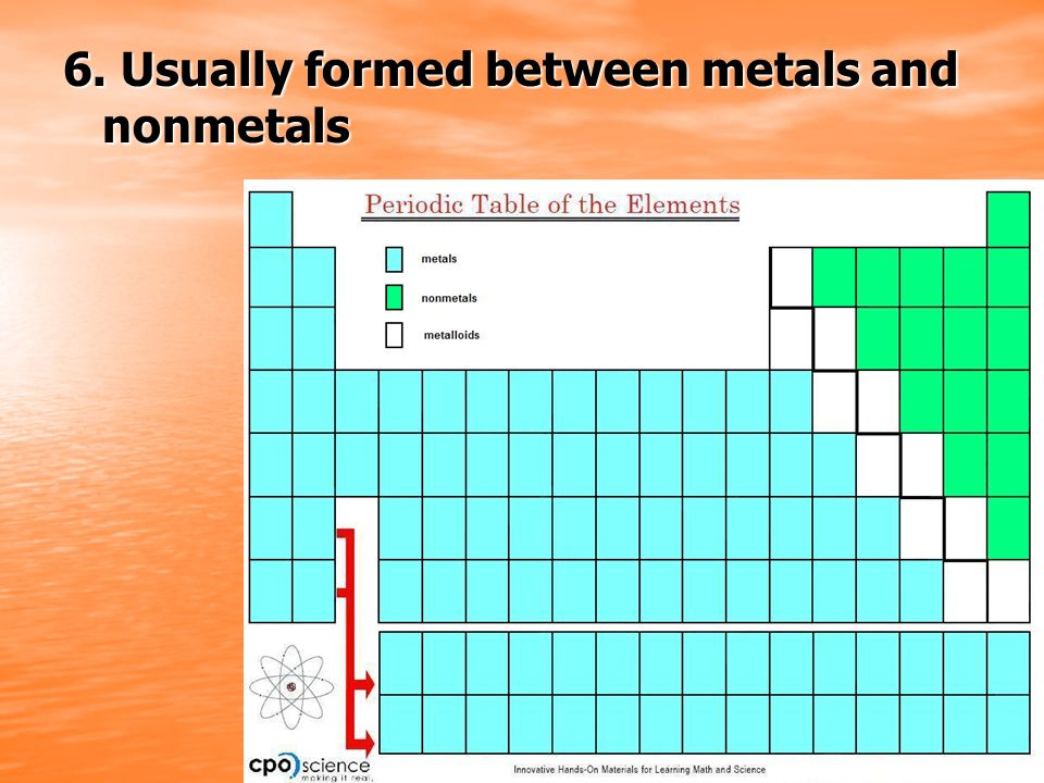 6. Usually formed between metals and nonmetals