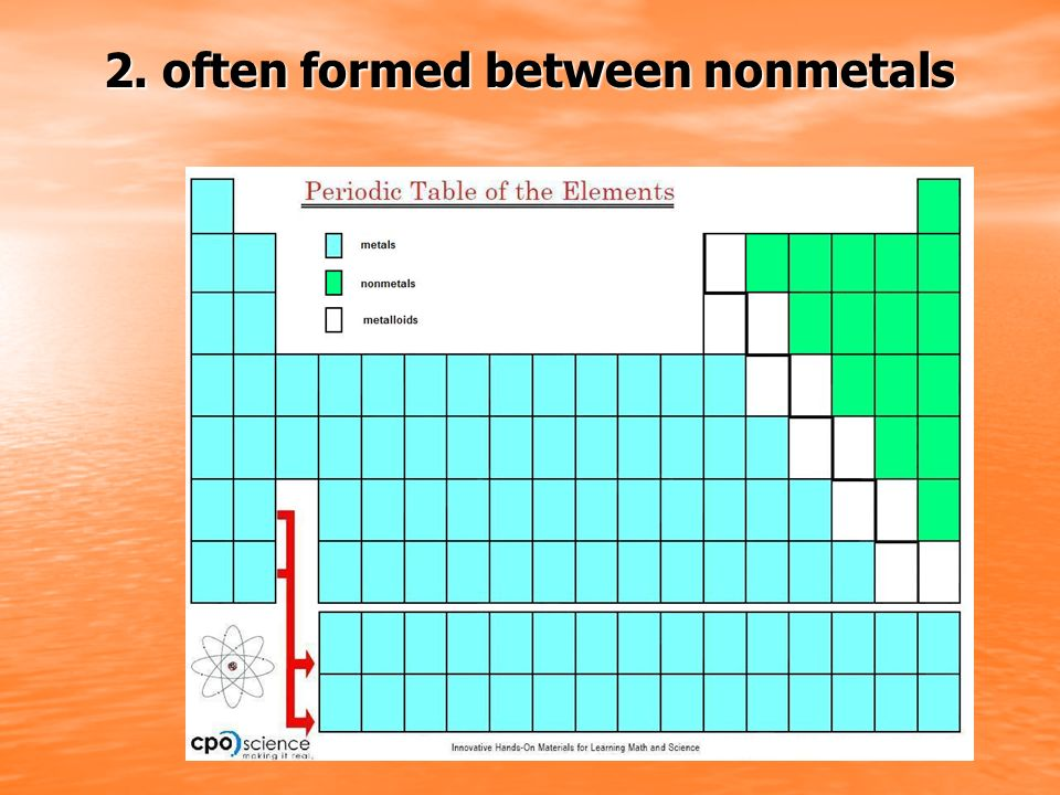 2. often formed between nonmetals