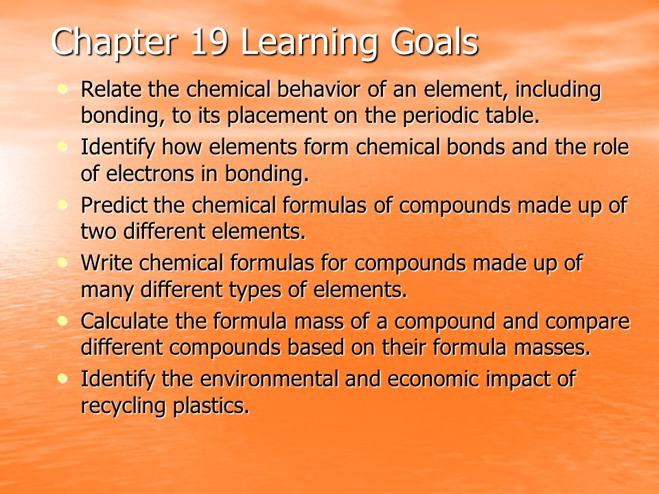 Chapter 19 Learning Goals