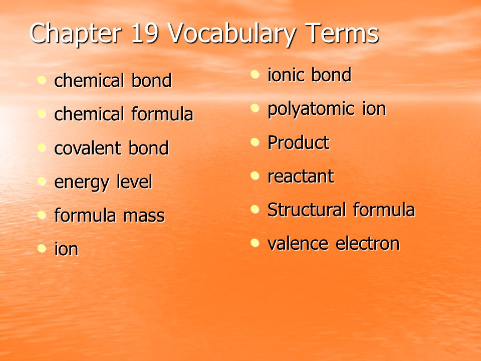 Chapter 19 Vocabulary Terms