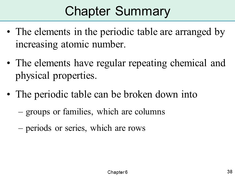 Arrangement of the elements ppt video online download chapter summary the elements in the periodic table are arranged by increasing atomic number urtaz Images