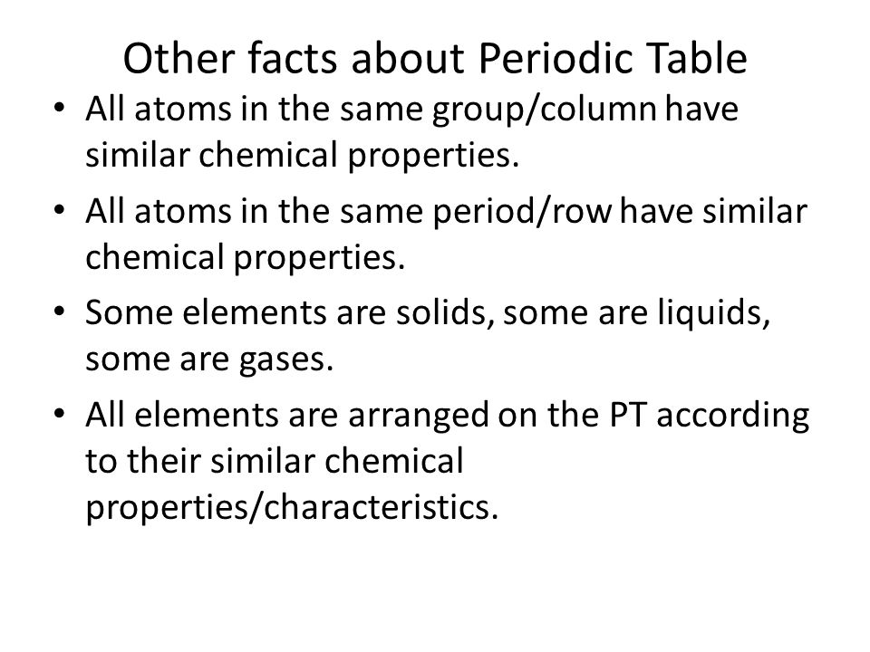 Cornell notes periodic table of the elements ppt video online other facts about periodic table urtaz Gallery