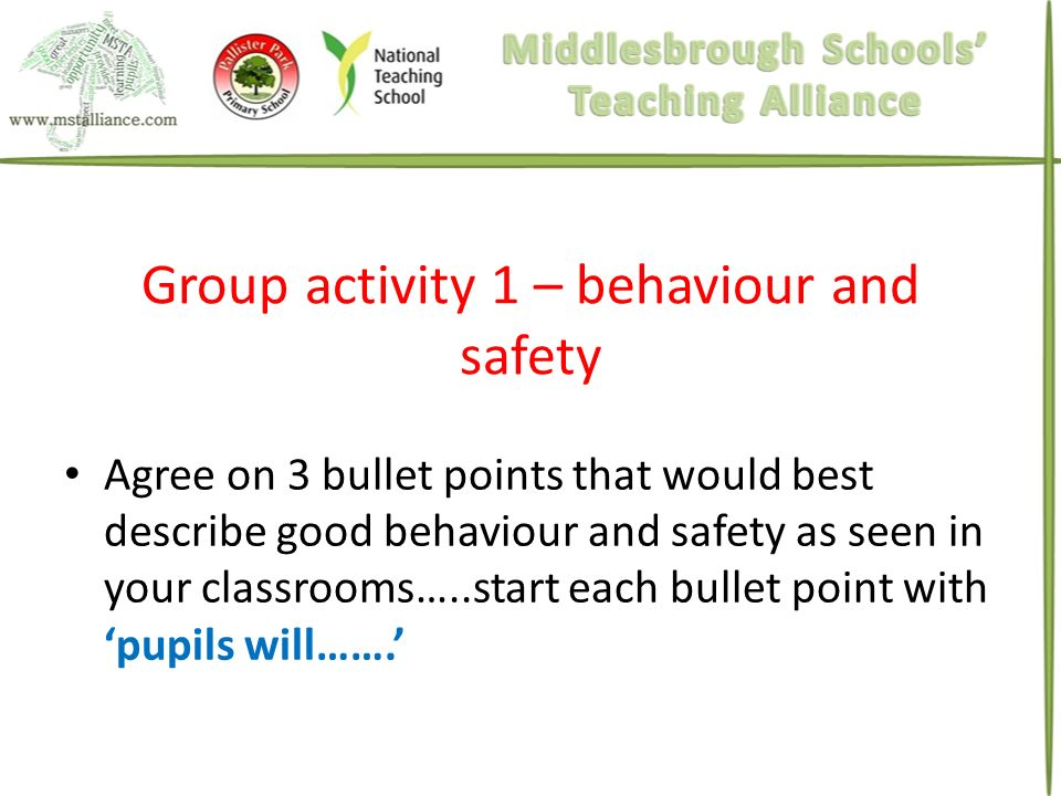 Group activity 1 – behaviour and safety