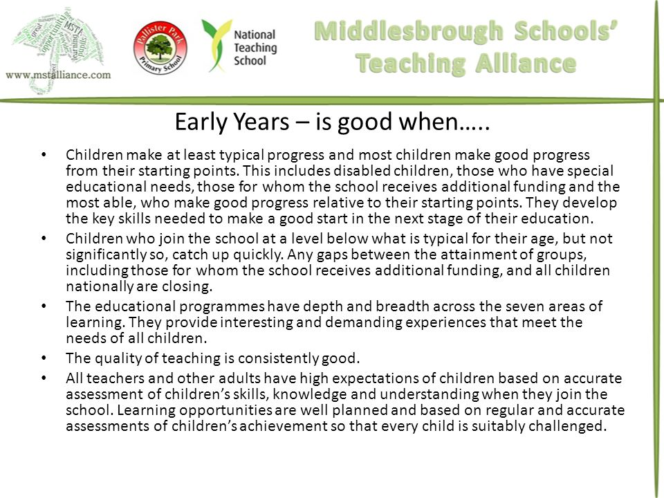 Early Years – is good when…..