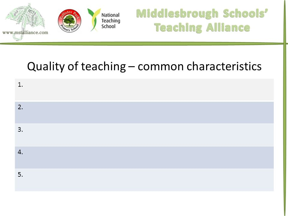 Quality of teaching – common characteristics