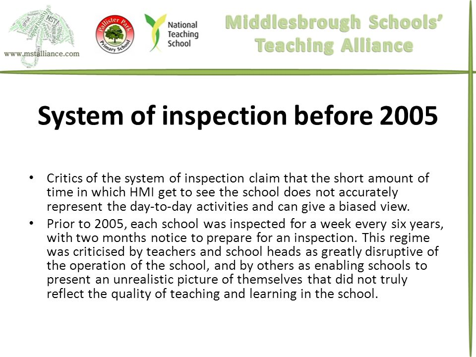 System of inspection before 2005