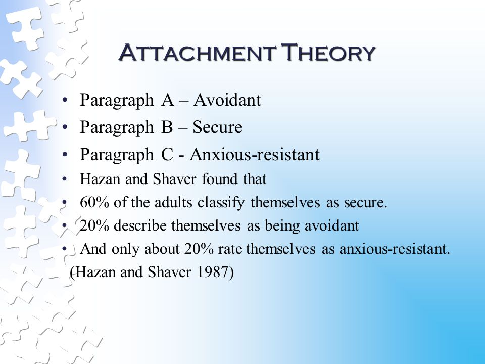 Attachment theory adult hazan and shaver high school
