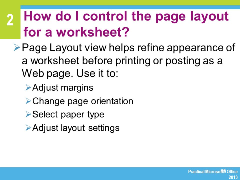 Chapter 2 Manipulating Numbers With Excel Ppt Download. How Do I Control The Page Layout For A Worksheet. Worksheet. Worksheet Before Selection Change At Mspartners.co
