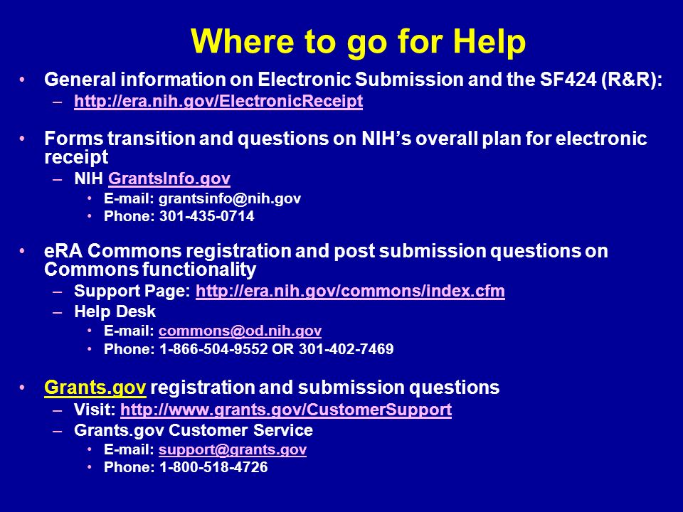 Great Where To Go For Help General Information On Electronic Submission And The  SF424 (Ru0026R) Amazing Design