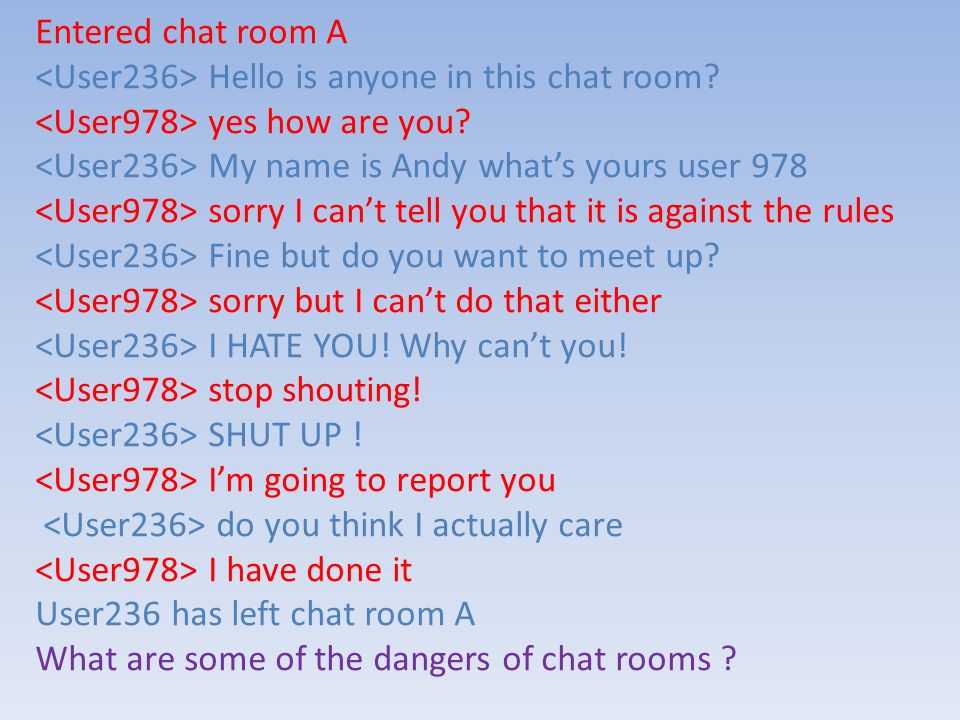 Entered chat room A <User236> Hello is anyone in this chat room <User978> yes how are you <User236> My name is Andy what's yours user 978.
