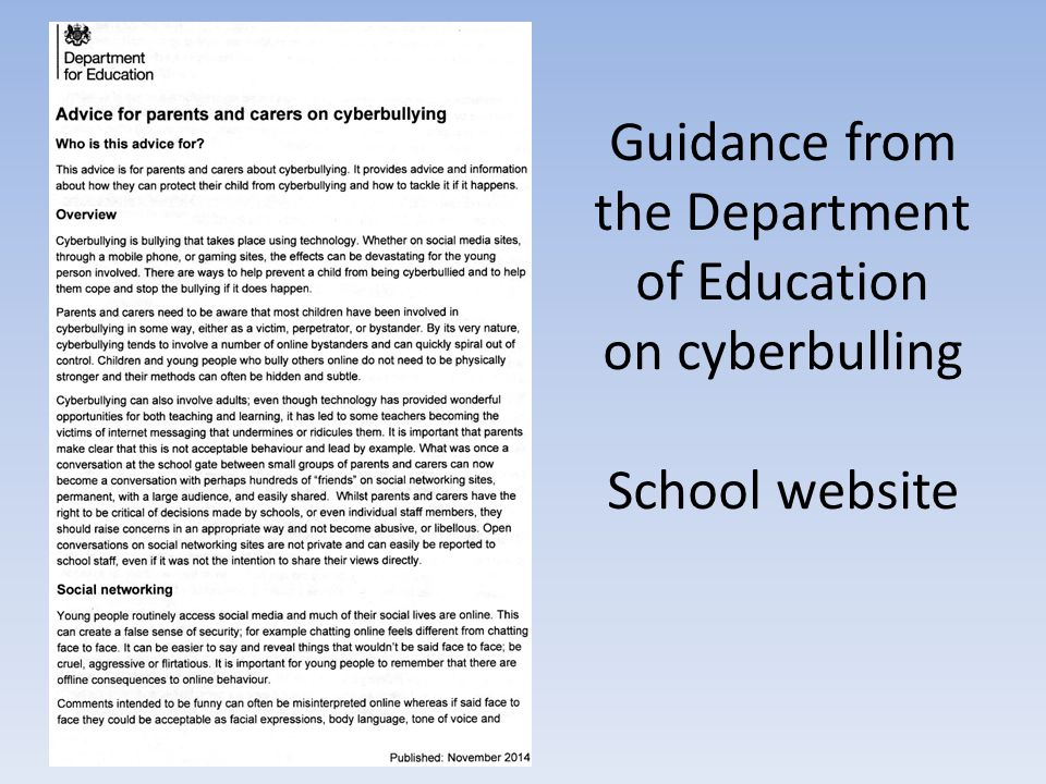 Guidance from the Department of Education on cyberbulling School website