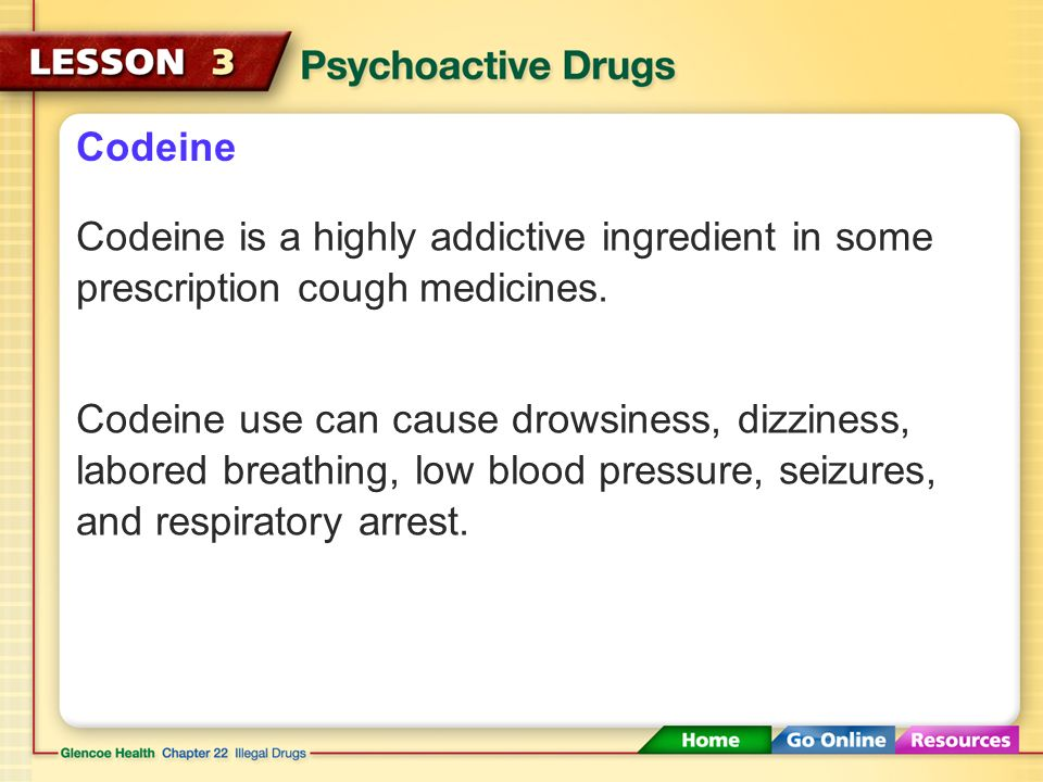 Codeine Codeine is a highly addictive ingredient in some prescription cough medicines.
