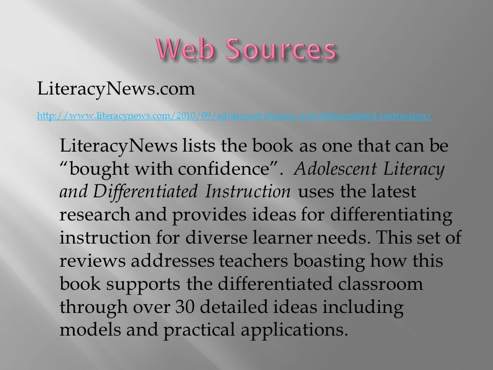 Adolescent Literacy And Differentiated Instruction Ppt Download