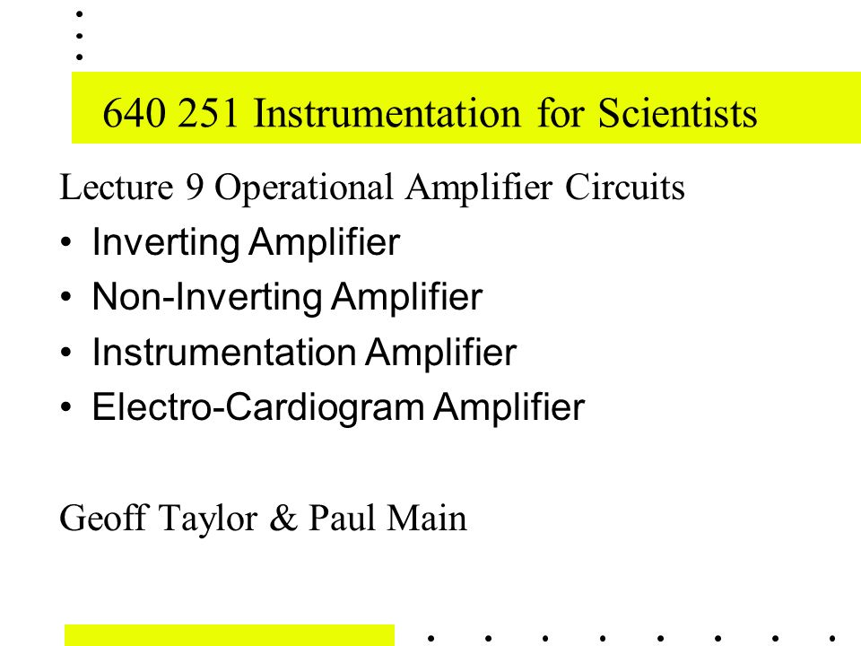 Instrumentation for Scientists