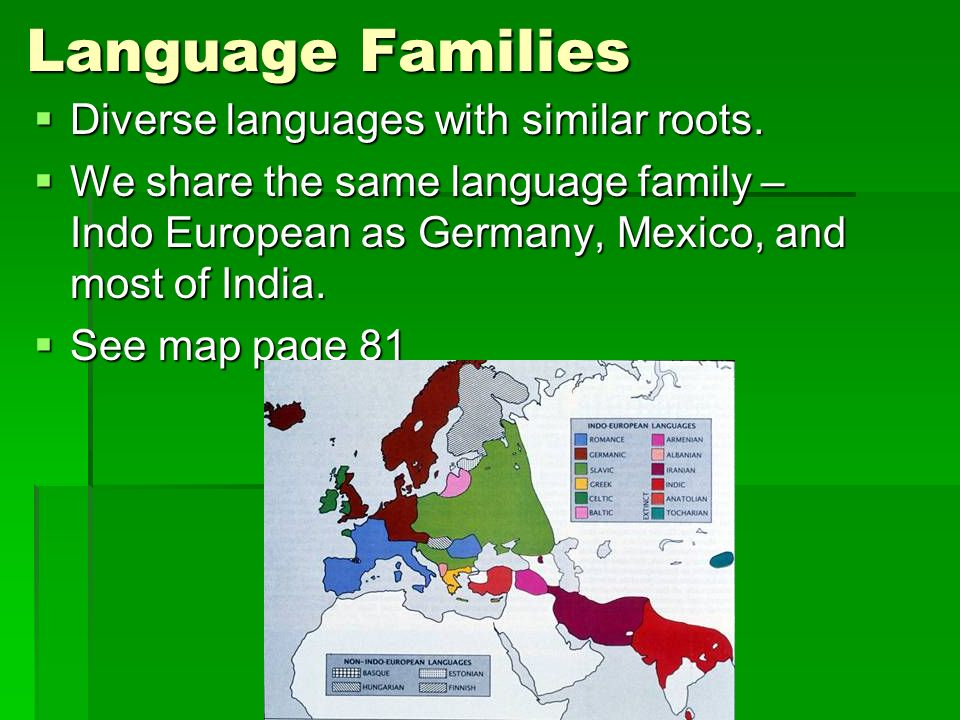 Language Families Diverse languages with similar roots.