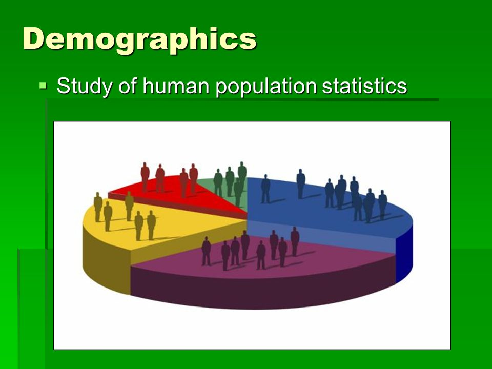 Demographics Study of human population statistics
